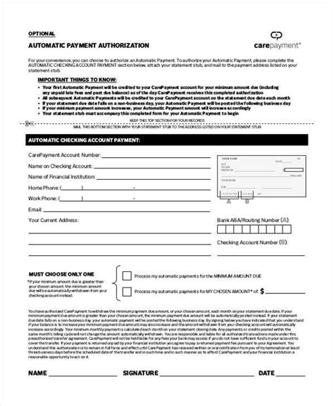 Automatic Credit Card Payment Authorization Form Template by Authorization Form Templates