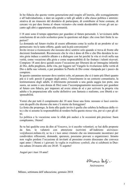 lettera testo il testo integrale della lettera dell arcivescovo ai