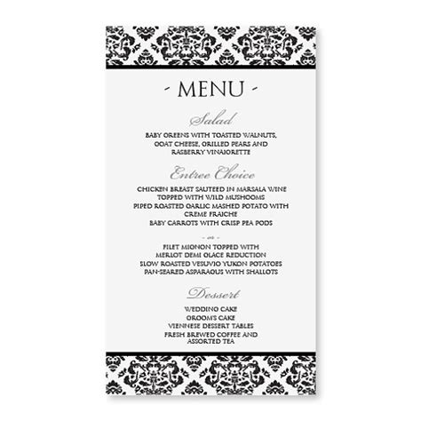 free wedding menu template for word free menu templates for word template design