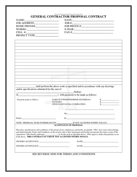 best photos of construction proposal form templates free