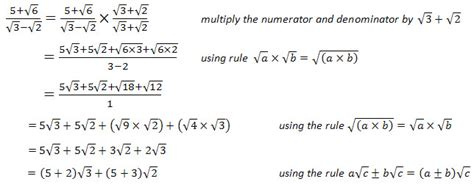 surds questions and worked solutions laerd mathematics