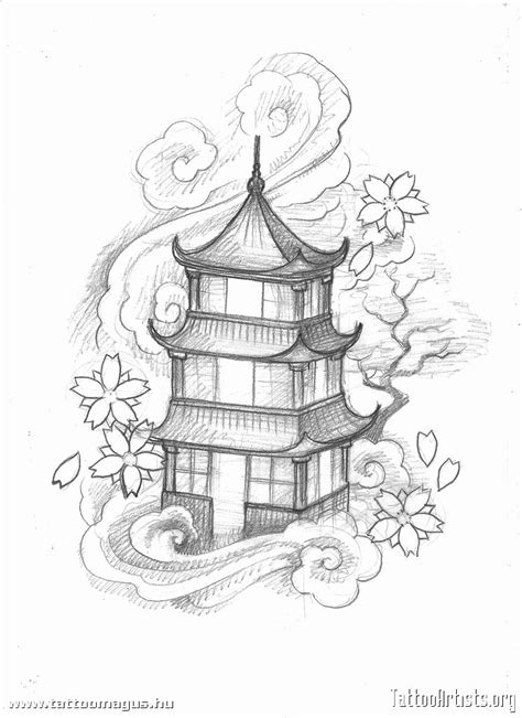 oriental design tattoo japanese pagoda designs pagoda artists