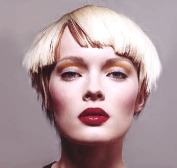 Very Short Funky Hair Style With Blunt Bangs, Pure White Blonde With Brown Highlighted