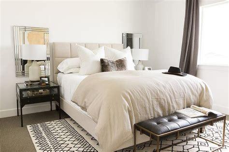 cream  black bedroom design transitional bedroom