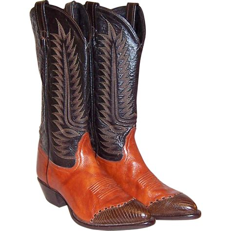 vintage cowboy boot l vintage tony lama cowboy boots in burnt sienna and brown