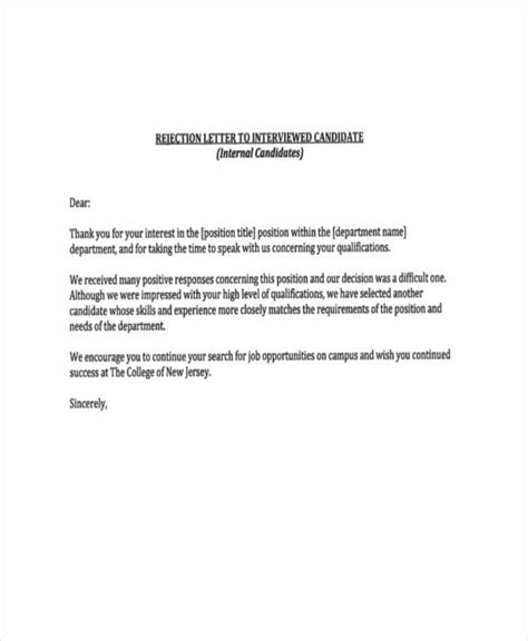 Rejection Letter Closing polite rejection letter sle sle rejection letter