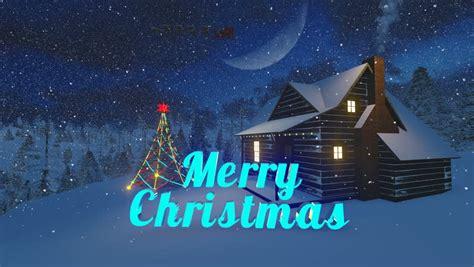 christmas night scenery christmas tree  cabin decorated   light garland   snowy