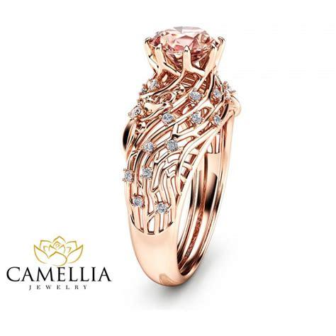 14k gold morganite engagement ring unique filigree