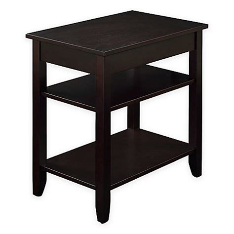 espresso accent table 3 tier accent table with usb power ports in espresso bed