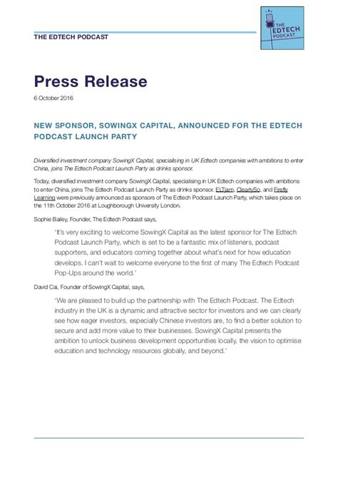 The Edtech Podcast Launch Party New Sponsor Announcement Podcast Sponsorship Template