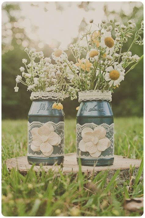 Two Vintage Lace Wedding Vases Ivory And Frosted Blue Frosted Vases Centerpieces