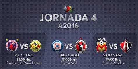 Calendario Liga Mx Apertura 2016 Chivas Fechas Y Horarios De La Jornada 4 Apertura 2016 En La