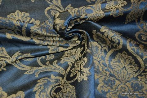 drapery fabrics luxury 822 luxurious heavy regency blue silk jacquard floral