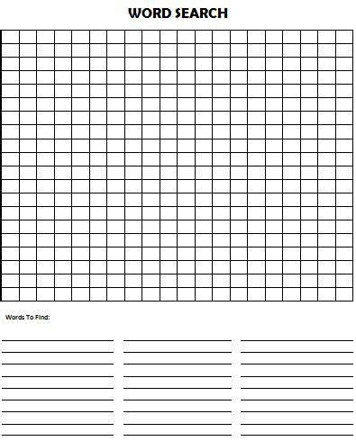 Create Word Search Free Printable