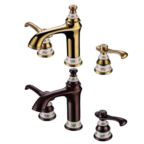gold bathroom sink faucets ems dhl free shipping pvd gold widespread lavatory