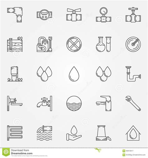 sketchup layout electrical symbols water supply icons stock vector image 60972617
