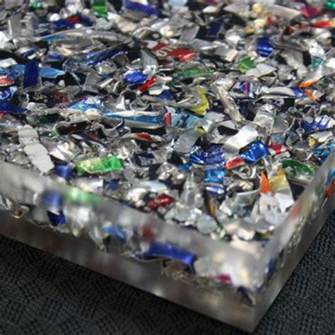 acrylic bar top resin recycled shredded aluminum cans suspended in acrylic resin