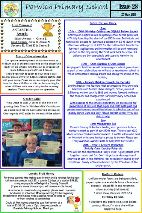 School Newsletter 28 Pta Minutes Uniform Order Form Price List Parwich Org Pta Newsletter Templates In Word