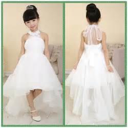 Wedding flower girl dresses handmade flowers bow back formal dresses