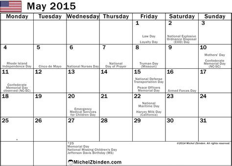 printable planner may 2015 5 best images of may 2015 calendar with holidays printable