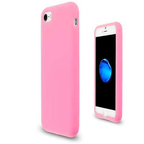 light pink silicone skin case cover  apple iphone