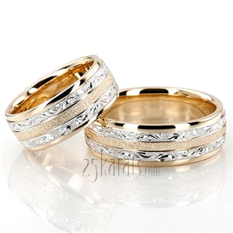 Wedding Ring Band Design by Hh Fc100364 14k Gold Exclusive Floral Design Wedding Band Set