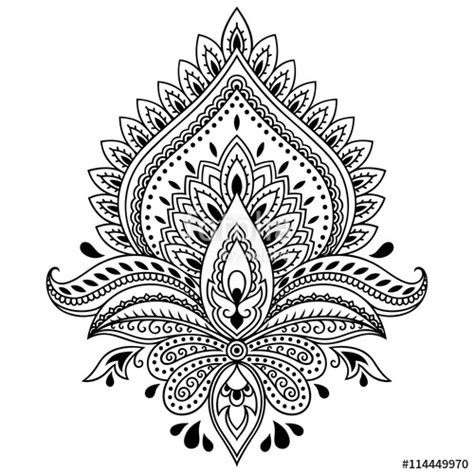 quot henna tattoo flower template in indian style ethnic