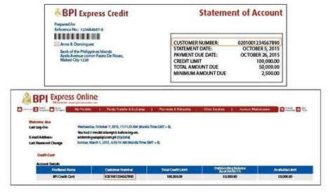 Credit Card Application Form Bpi Bpi Express Credit 16 Digit Customer Number May Be Found In Either The Statement Of Account Or