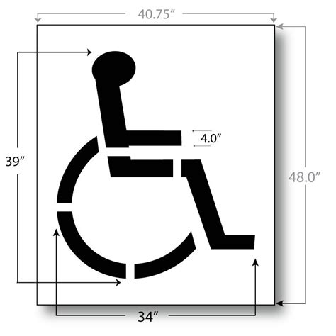 handicap parking stencil 39 inch international standard