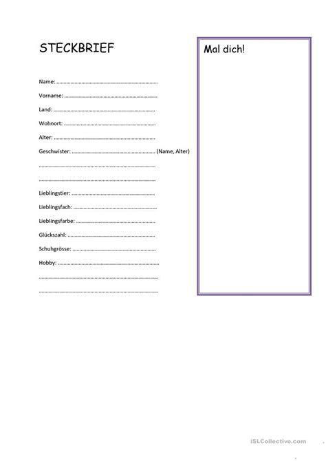 steckbrief arbeitsblatt kostenlose daf arbeitsbl 228 tter