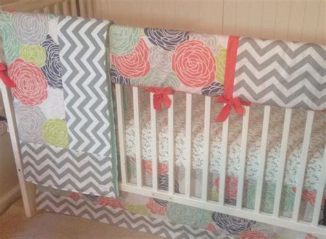 Navy And Coral Crib Bedding Navy Coral And Gray Designer Bumperless Crib Bedding Set By Butterbeansboutique On Etsy Https