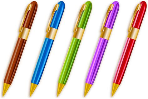 colorful ballpoint pens set free vector in adobe