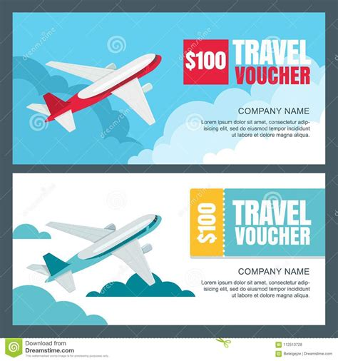 Vector Gift Travel Voucher Template Flying Airplane In The Sky Banner Coupon Certificate Vacation Voucher Template