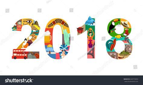 new year 2018 travel 2018 new year travel vector illustration stock vector
