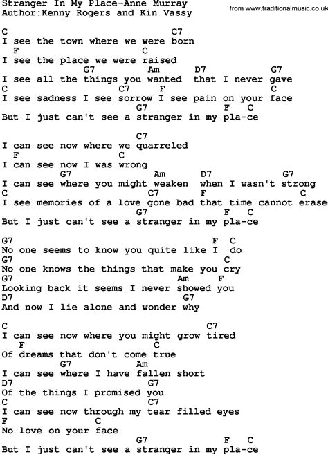 A Place Guitar Chords Country In My Place Murray Lyrics And Chords