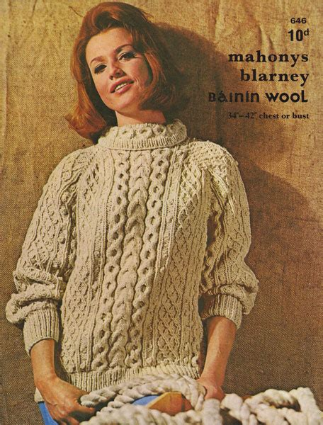 aran knitting patterns vintage mahonys aran knitting pattern jumper 1960s
