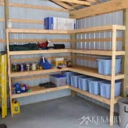 diy corner shelves for garage or pole barn storage