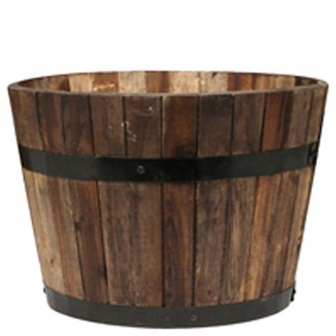tuscan path 37cm half barrel wooden planter bunnings