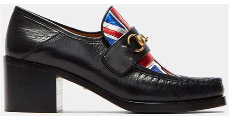 Guccis Bouvier Mid Heel Moccasins by Gucci Mid Heel Union Moccasin Shoes In Black In Black