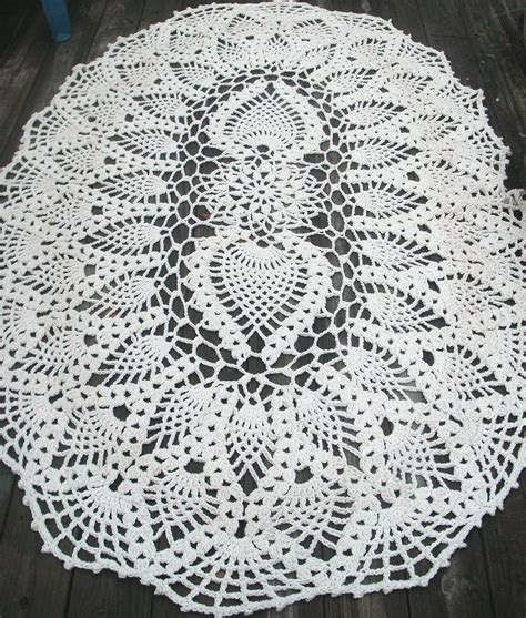 crochet oval rug pattern handmade cotton crochet rug in 7 foot oval pineapple pattern by bycamilledesigns