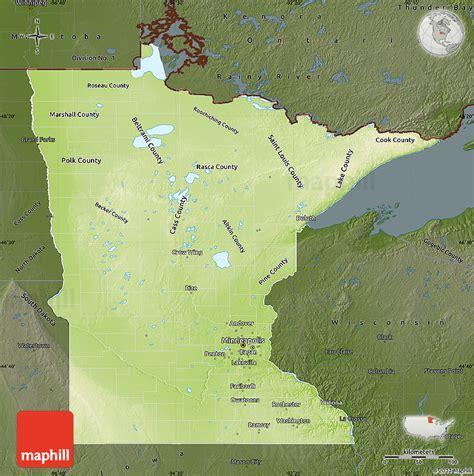 physical map of minnesota physical map of minnesota darken