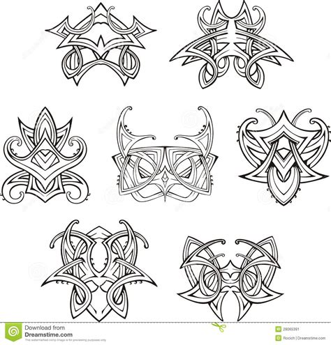 symmetrical tribal tattoos symmetric tribal knot tattoos stock image image 28065391