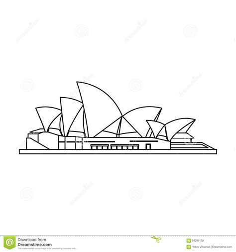 coloring page of sydney opera house sydney opera house icon in outline style isolated on white