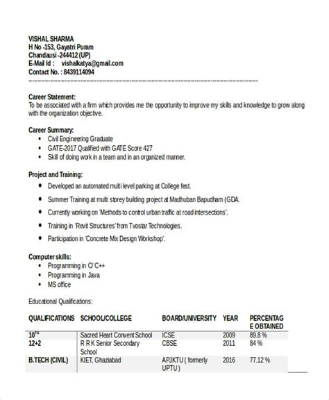 Sle Career Objective For A Fresher Resume 28 Sle Resume Format For Civil Engineer Fresher 40 Fresher Resume Exles Resume Format For