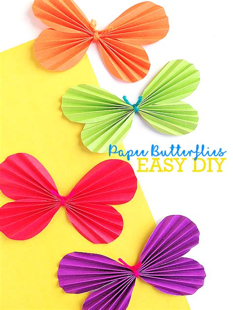 Folded Paper Butterfly Template - accordion fold butterflies craft our kid things