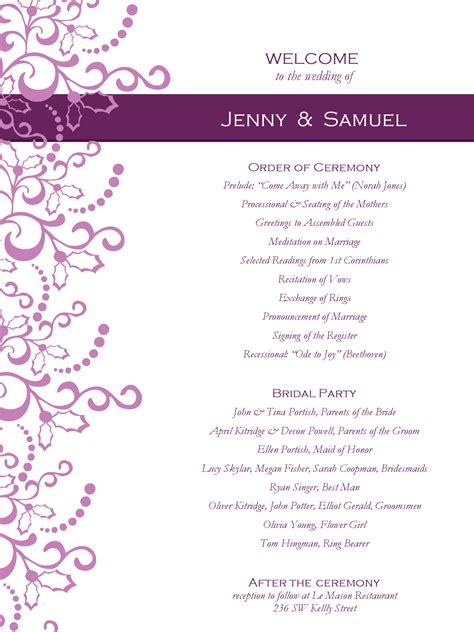 one page wedding program template ornate winter wedding program