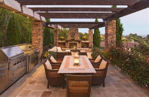 pergola outdoor kitchen outdoor kitchen designs featuring pizza ovens fireplaces
