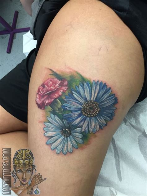 lnztattoos birth flowers two asters and a carnation