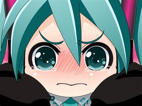 chibi close crying hatsune miku tears vector vocaloid