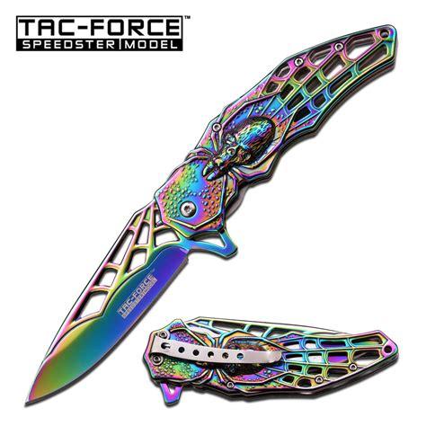rainbow chrome spring assist folding pocket knife rainbow chrome spider